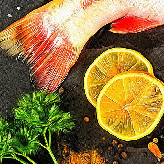 Fish Canvas Fish Art Kitchen Wall Art Fish Print Kitchen | Etsy.com ...