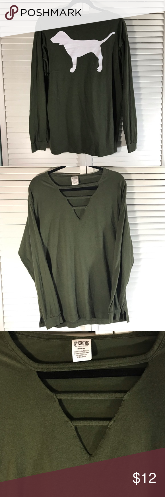 Olive green pink long sleeve w Logo Size medium  Super comfy I have a variety of brands  clothes in my closet as of now Fast shipping Follow me PINK Victorias Secret Tops...