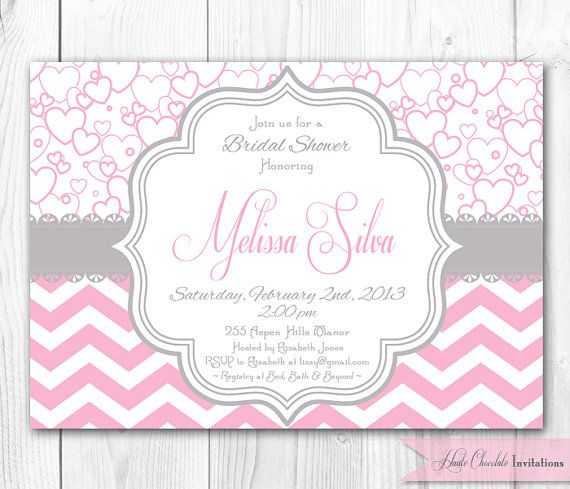 Hearts and Chevron Bridal Shower Invitation in Pink \ Gray DIY - free templates for bridal shower invitations