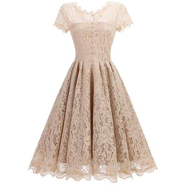 7120cdb28f Star Finch Retro Floral Lace Prom Dresses Short Homecoming Dresses Cap...  (€23) ❤ liked on Polyvore featuring dresses