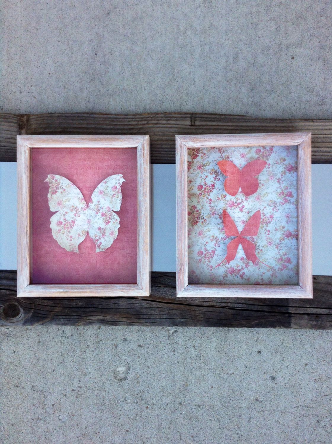 Shabby Chic Butterfly Shadow Box/ butterfly shadow box
