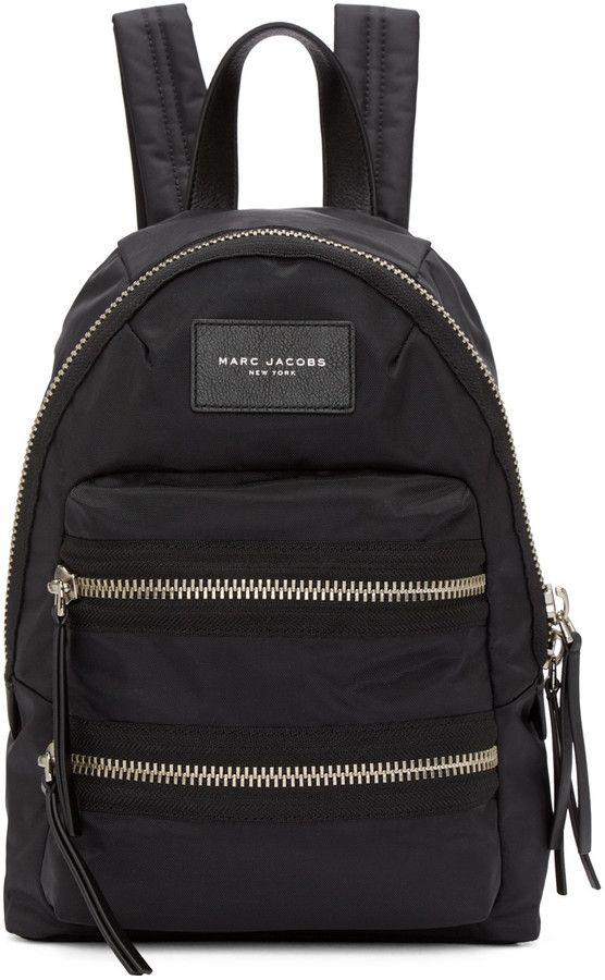 1a6033826ac Marc Jacobs Black Mini Nylon Biker Backpack   LEATHER BAG ...