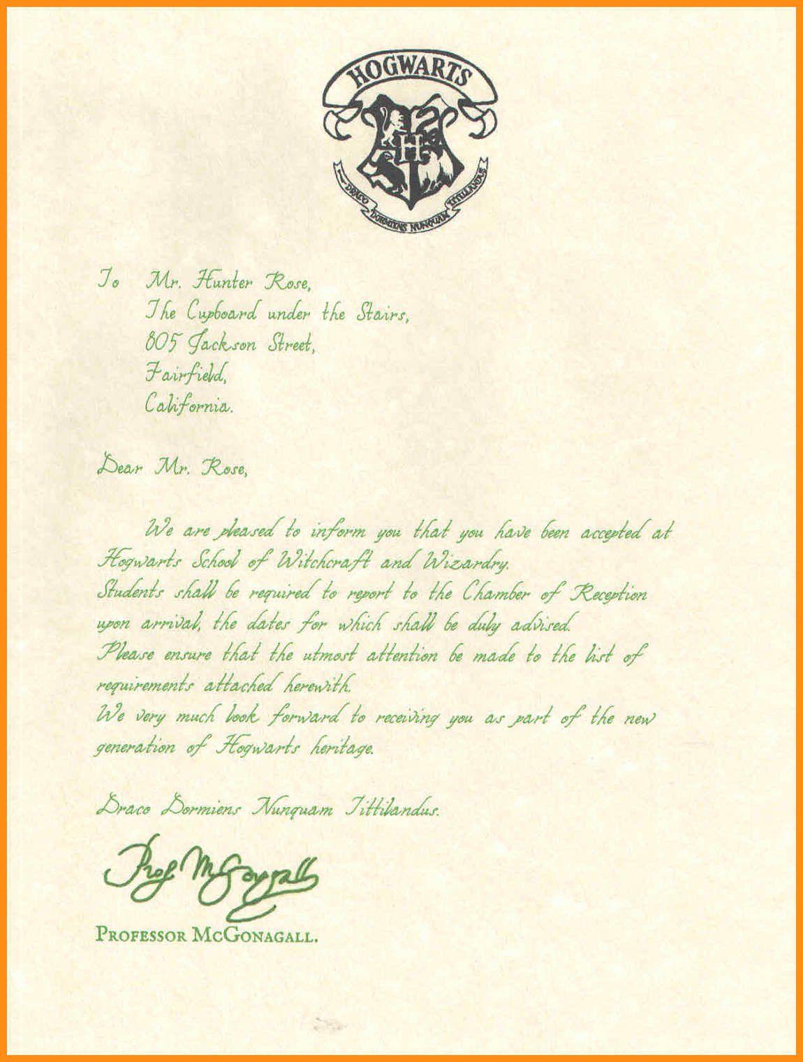 40 Harry Potter Letter Template in 2020 Hogwarts