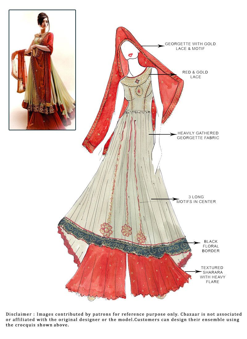 DIY Beige #Georgette #Sharara Suit | indian sketches | Pinterest ...