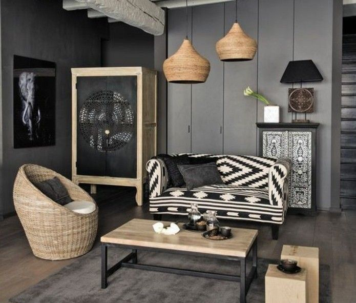 deco salon gris murs couleur anthracite canap en noir et blanc fauteuil en
