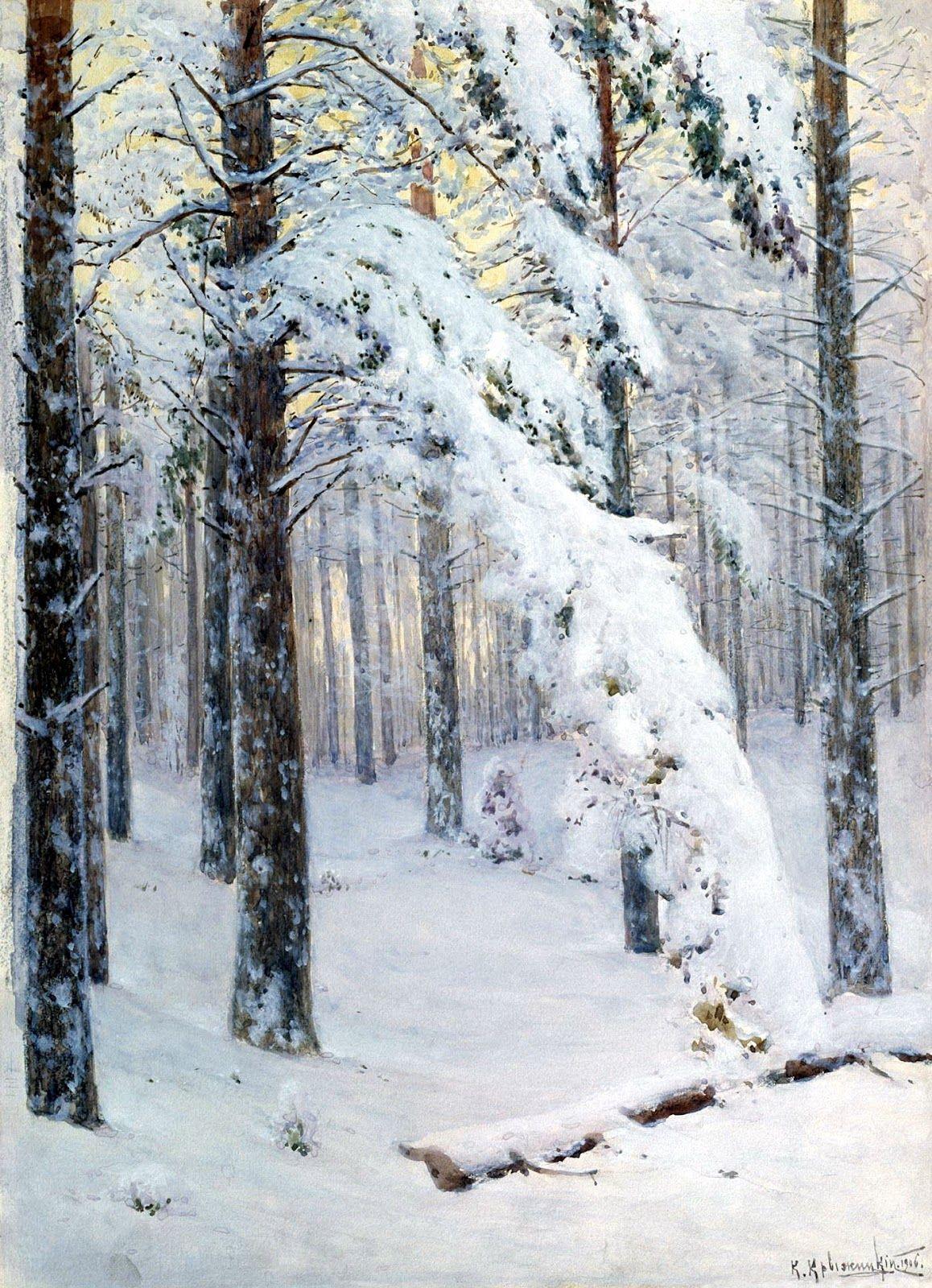Konstantin Kryzhitsky | Russian |   Forest in Winter | 1906 | oil on canvas