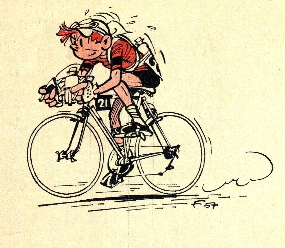Classic Franco Belgian Comic Character Spirou In Full Flight Bicycles