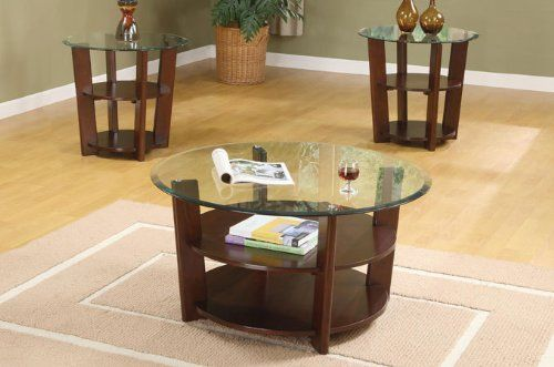 PC SET SOLID WOOD COFFEE TABLE WITH END TABLES MM BEVELED - Espresso finish coffee table set