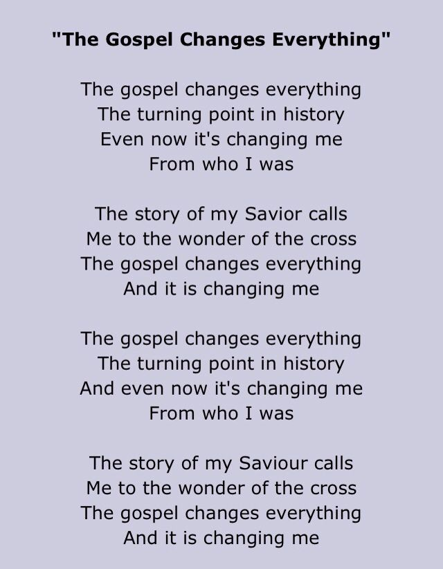 Lyric gospel lyrics.com : The gospel changes everything by Meredith Andrews part 1 | Lyrics ...