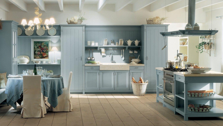 Cucina con isola collezione English Mood, finitura Azzurro Aurora ...
