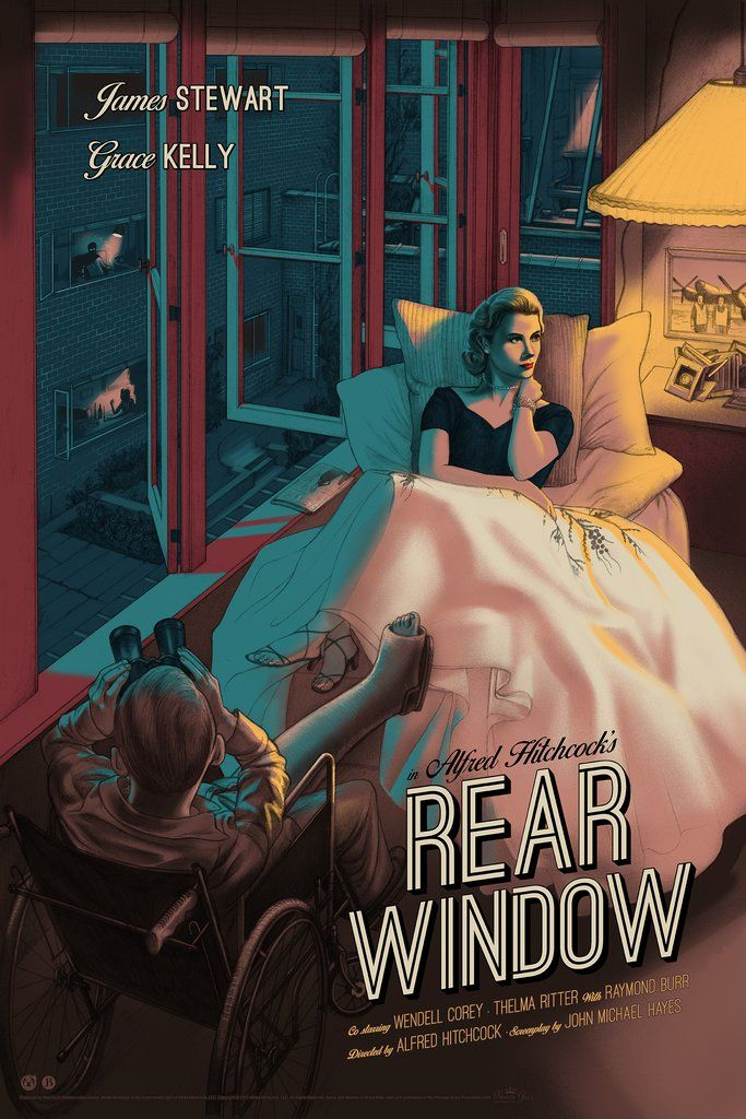 Alfred Hitchcock's  Rear Window  by Jonathan Burton! is part of Alternative movie posters, Movie poster art, Movie posters vintage, Cinema posters, Best movie posters, Classic movie posters - thriller masterpiece  Rear Window , with art by the amazing Jonathan Burton!
