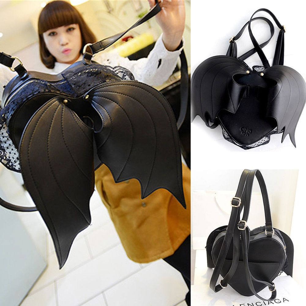 Women Fashion Black Heart-shaped With Bat Wings Lace Leather Purses Backpack Bag #Unbranded #BackpackStyle