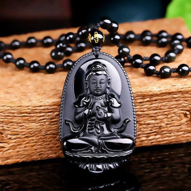 Naturel un volcan sculpté Bouddha Garde Pendentif Chaîne Collier Corde Cadeau pour Hommes