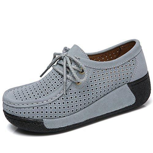 6a071a37588 Comprar Ofertas de Z.SUO Mujer Mocasines de Cuero Gamuza Moda Loafers  Casual Zapatos(39 EU