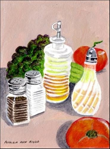 """Daily Paintworks - """"Making a Salad"""" by Patricia Ann Rizzo"""