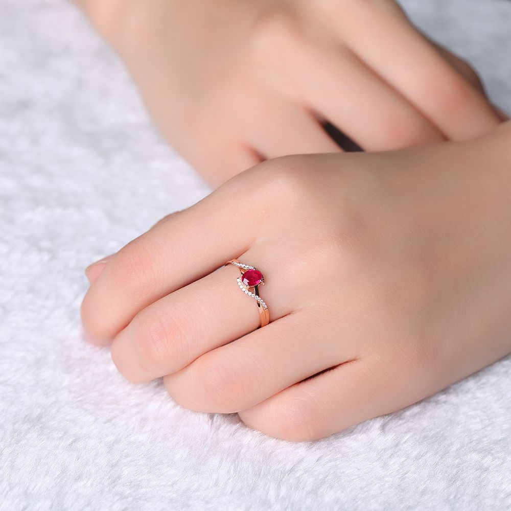 0.5ct VBORI 18K Gold Natural Ruby Gemstone Ring For Women Wedding ...
