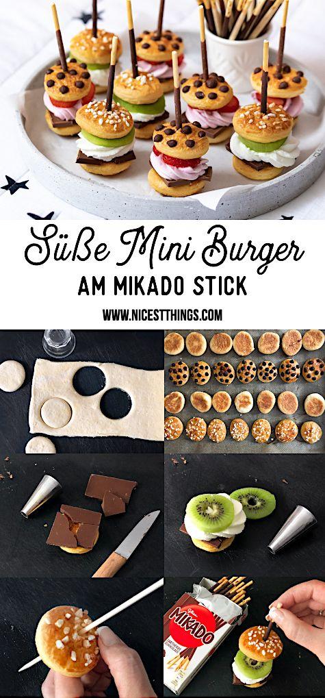 Süße Mini Burger am Mikado Spieß zum Serienabend – Kleingebäck / Small Pastry