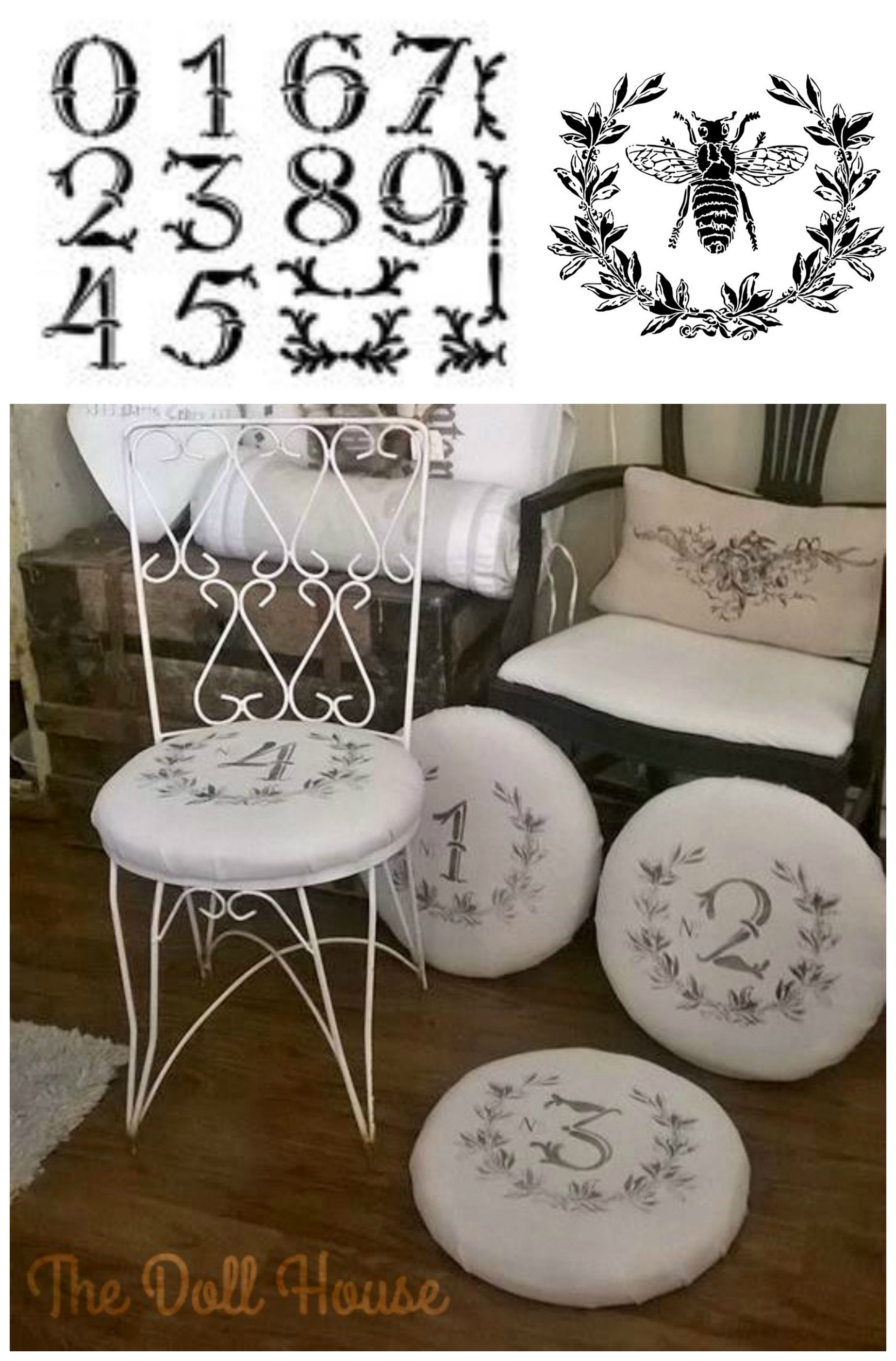 These French Inspired Chair Pad Covers Were Painted Using The Laurel Wreath From Our Bee Stencil