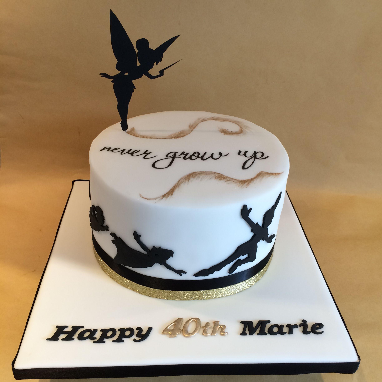 Tinkerbell Never Grow Up Birthday Cake Disney Birthday Cakes Birthday Cakes For Teens 35th Birthday Cakes