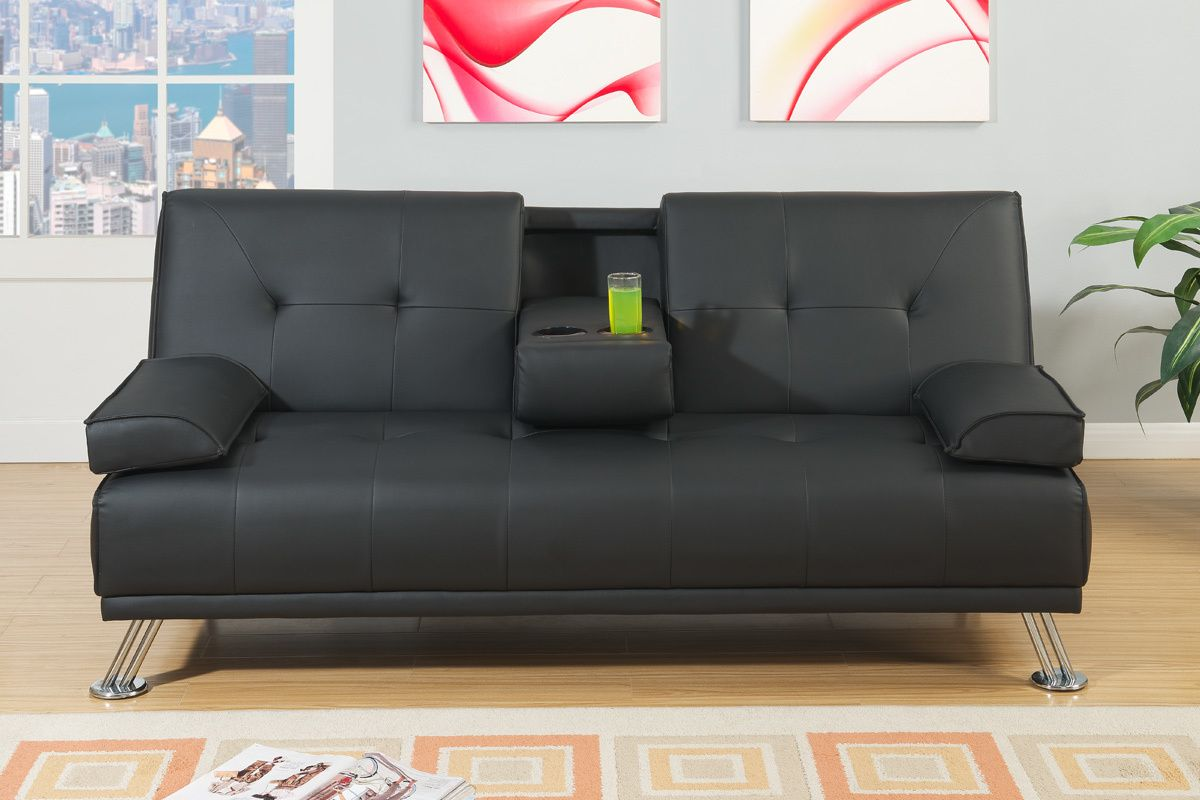 Futon Factory Adjustable Sofa In Black Leather Home Decor Sofa Upholstery