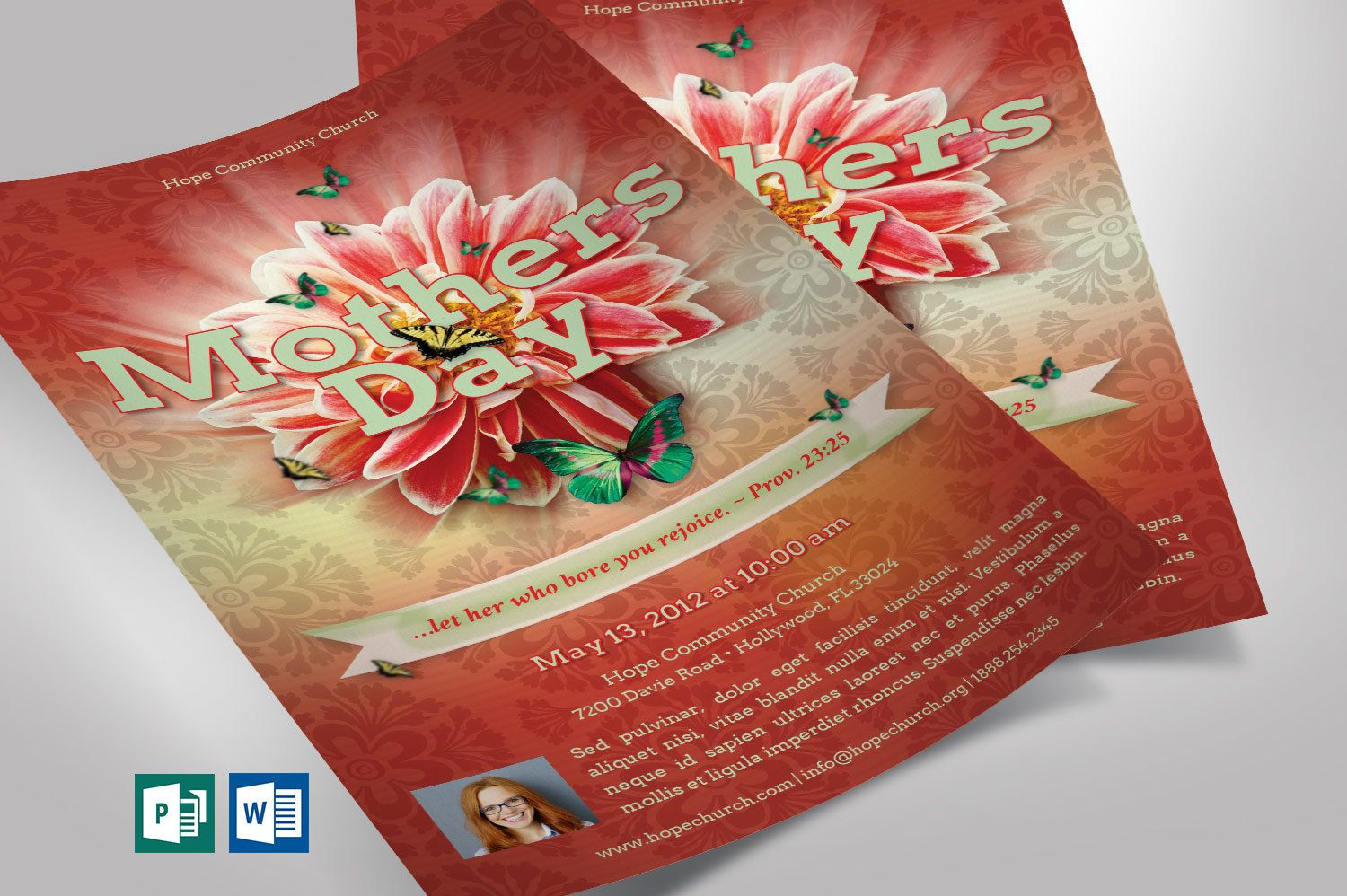 Mothers Day Flyer Word Publisher Template 5x8 Etsy Publisher Templates Flyer Postcard Design