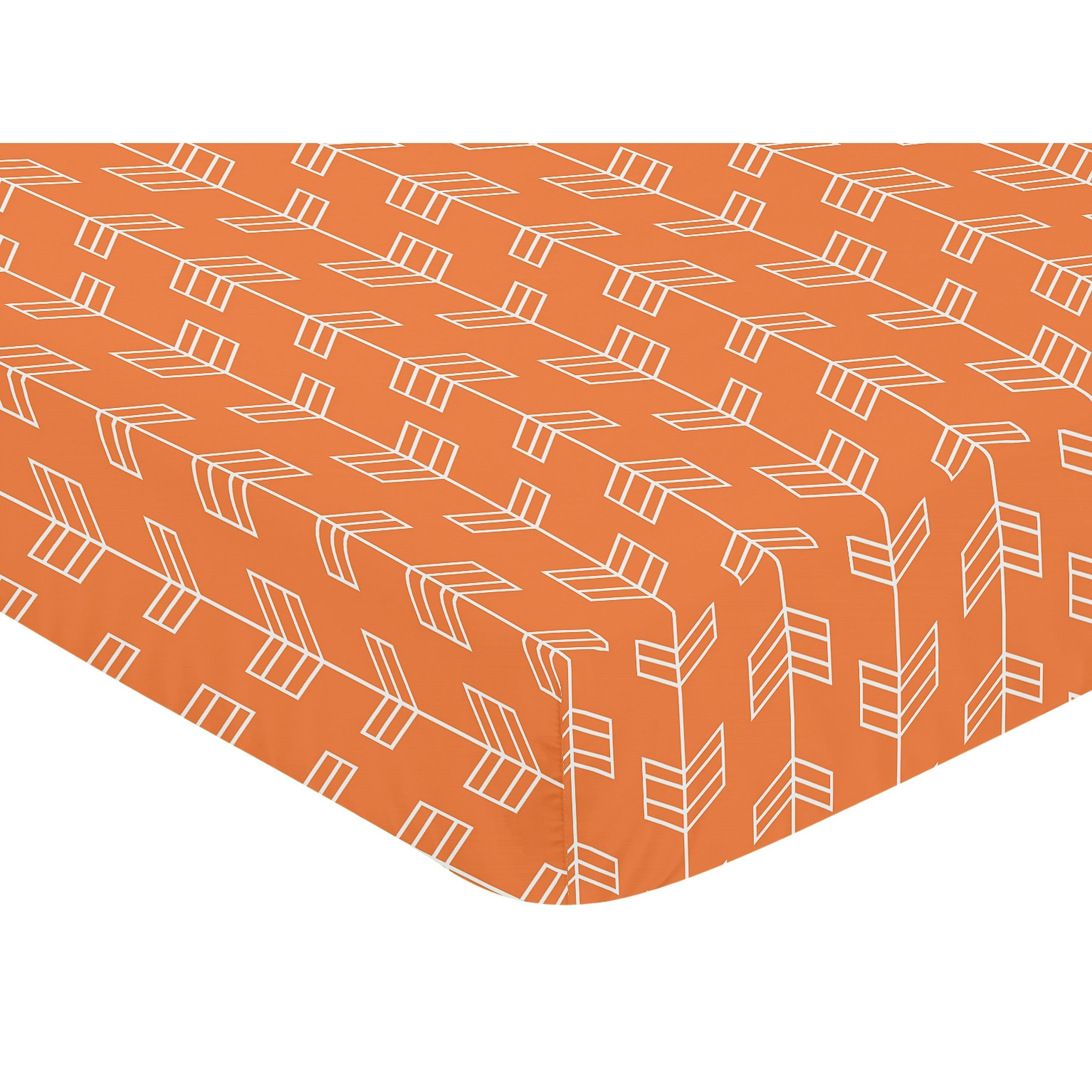 Sweet Jojo Designs Arrow Print Fitted Crib Sheet For Orange And Navy