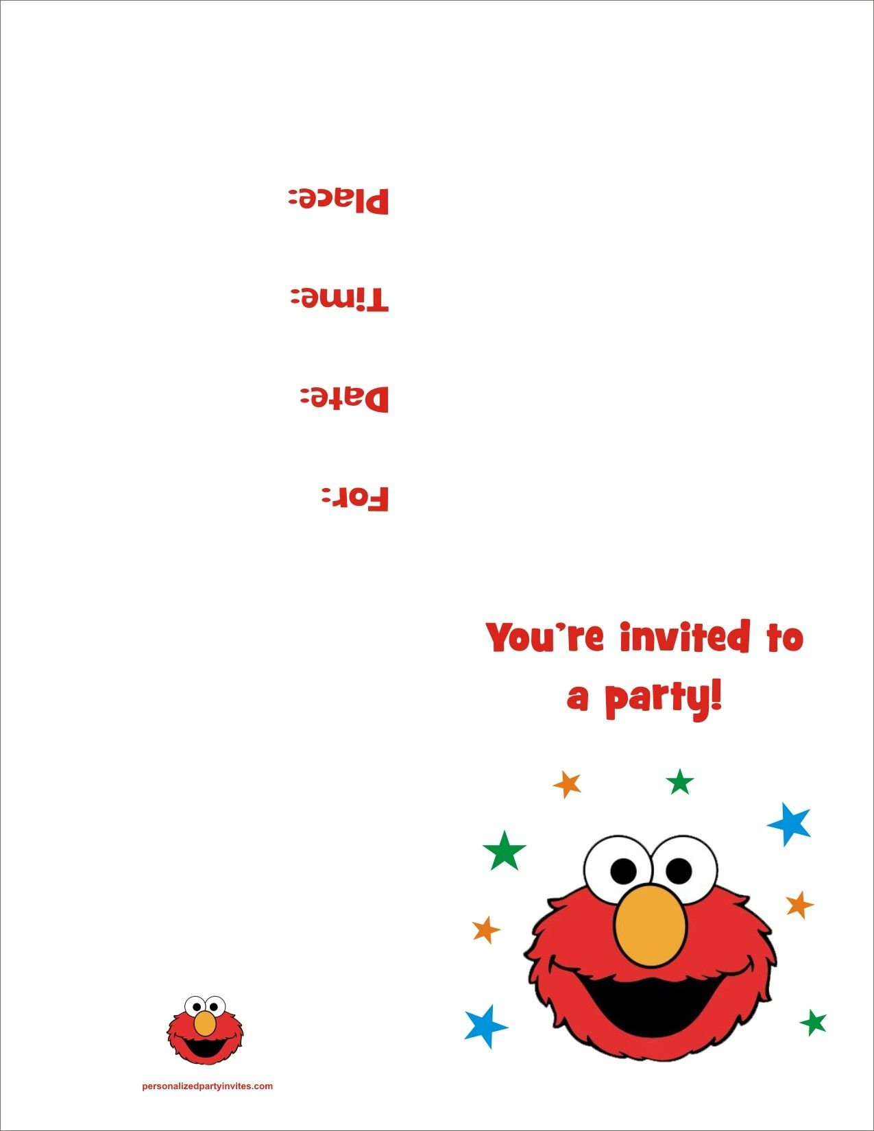 Elmo FREE Printable Birthday Party Invitation | Free Printable ...