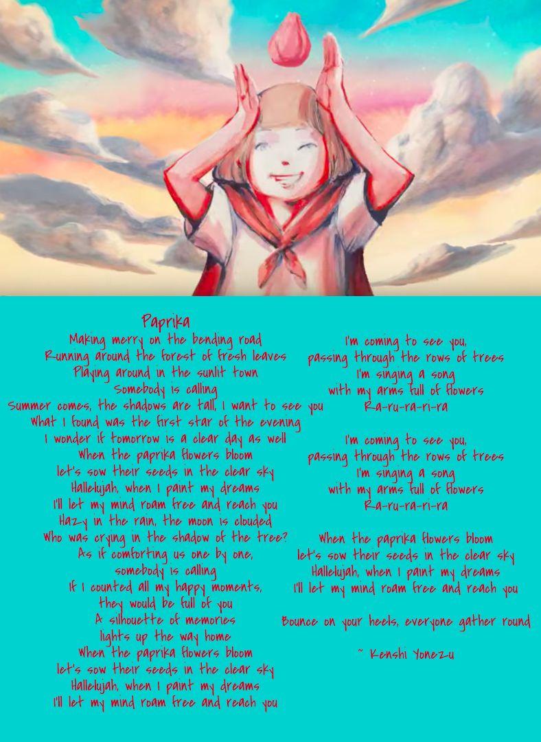 English Lyrics To Paprika By Kenshi Yonezu With Images Trippy