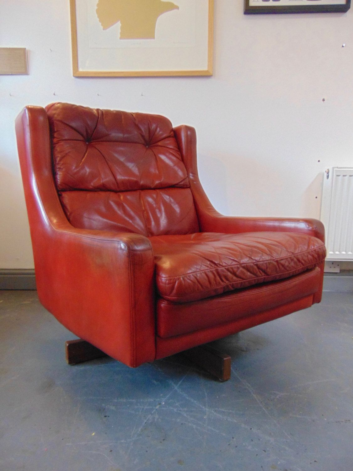 Vintage Mid Century 1960s Ox Blood Red Leather Danish Swivel