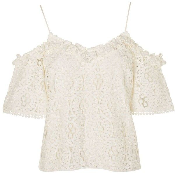 86bad1f9408f9b Topshop Lace Frill Cold Shoulder Top ( 23) ❤ liked on Polyvore featuring  tops