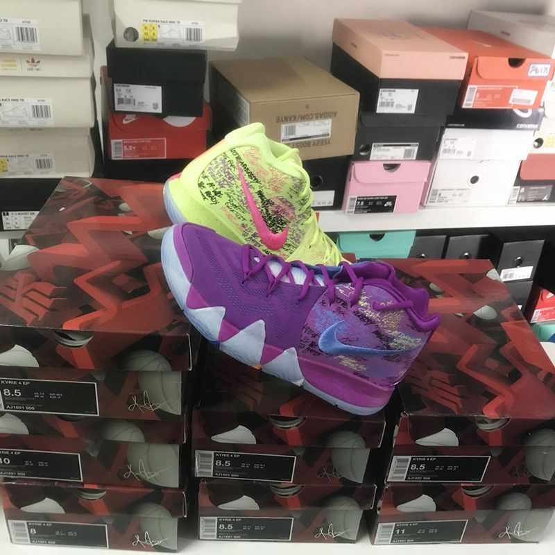 c12da401f54cbd NIKE KYRIE 4 EP CONFETTI PURPLE GREEN MULTI COLOR CHRISTMAS AJ1691 900   basketball  sports