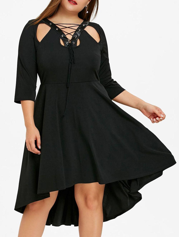 306c71f9664 Plus Size Lace Up Dip Hem Dress - BLACK 5XL Best Plus Size Dresses