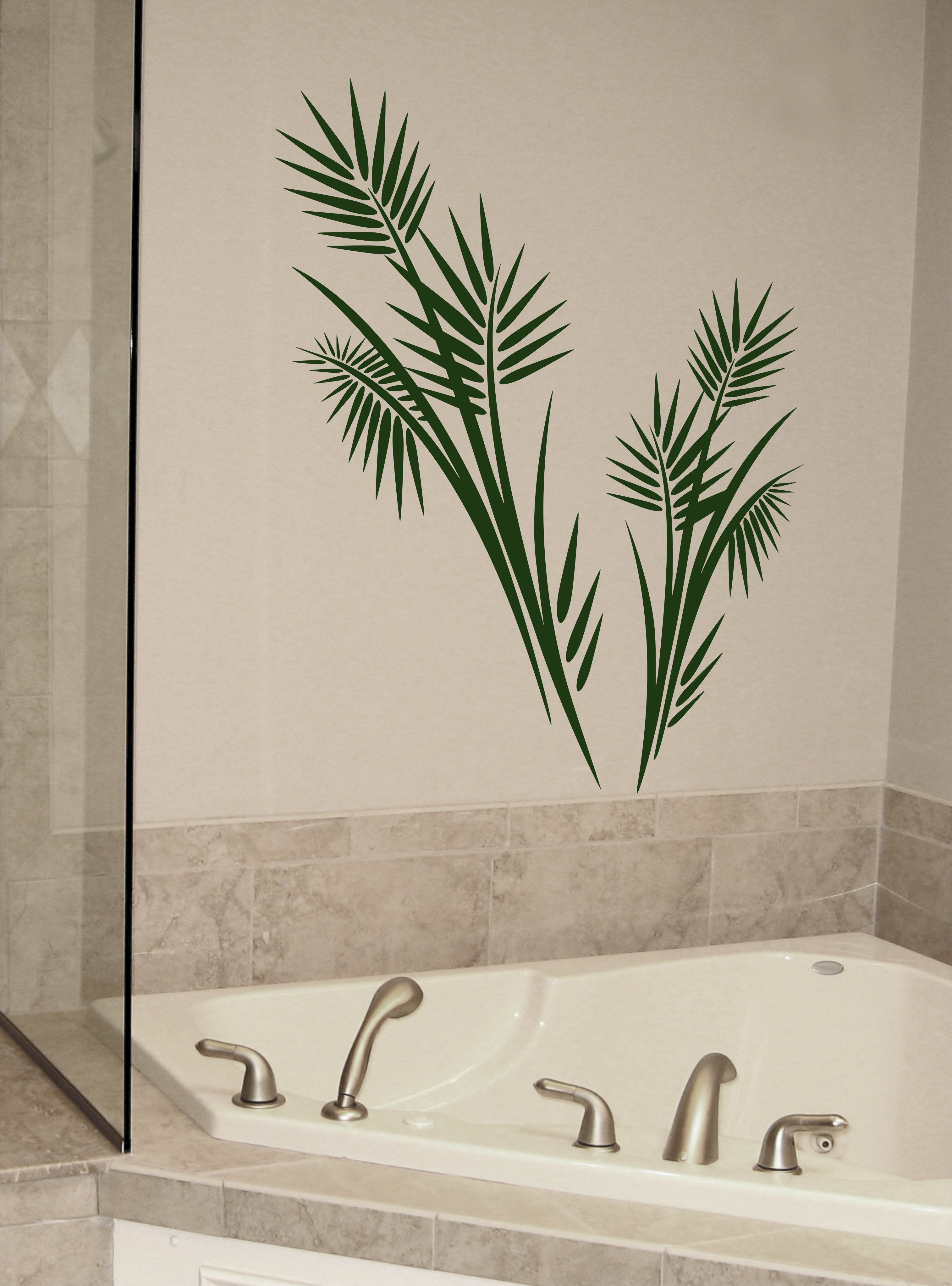 Large PALM TREE Wall Decal Vinyl   Tropical Wall Decor, Vinyl Frawn Leaves  Sticker From