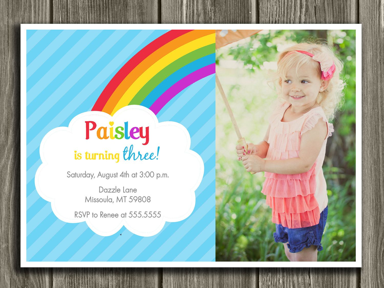 Rainbow Birthday Invitation - FREE thank you card included. $15.00 ...