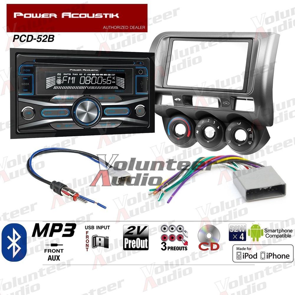 Power Acoustik Pcd 52b Double Din Car Stereo Radio Install Package Kenwood Wiring Harness Ebay