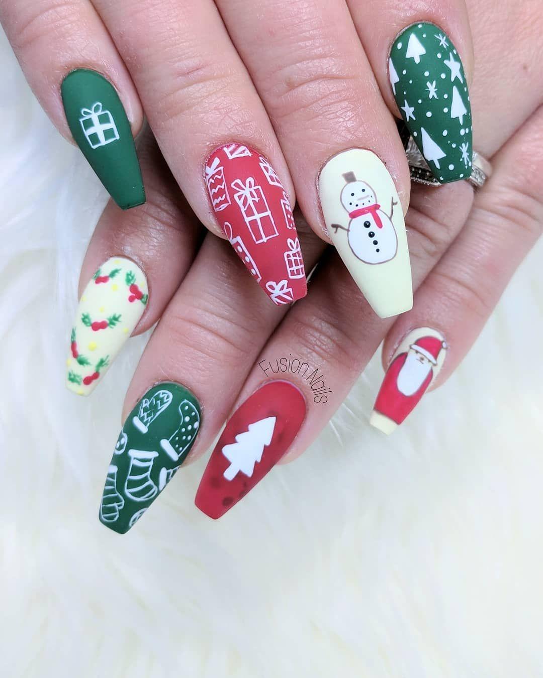 Folk Art Christmas Nails Uas Pinterest Winter Nails