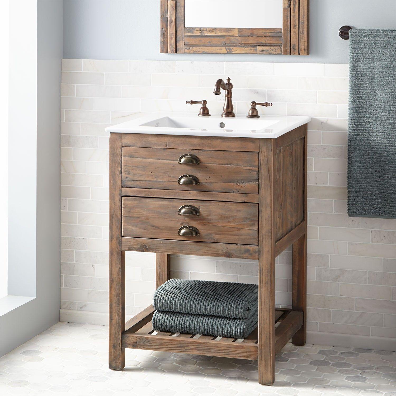 reclaimed bathroom furniture. Benoist Reclaimed Wood Vanity For Rectangular Undermount Sink - Gray Wash Pine Bathroom Vanities Furniture H