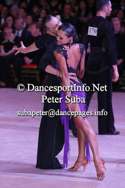 , purple and black lace latin dress Maurizio and Andra