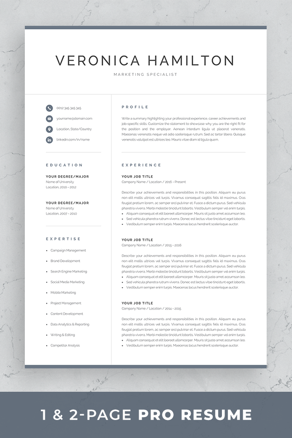 Reference Page Resume Template Stunning Resume Template  Professional Resume Template  1 And 2 Page Resume .