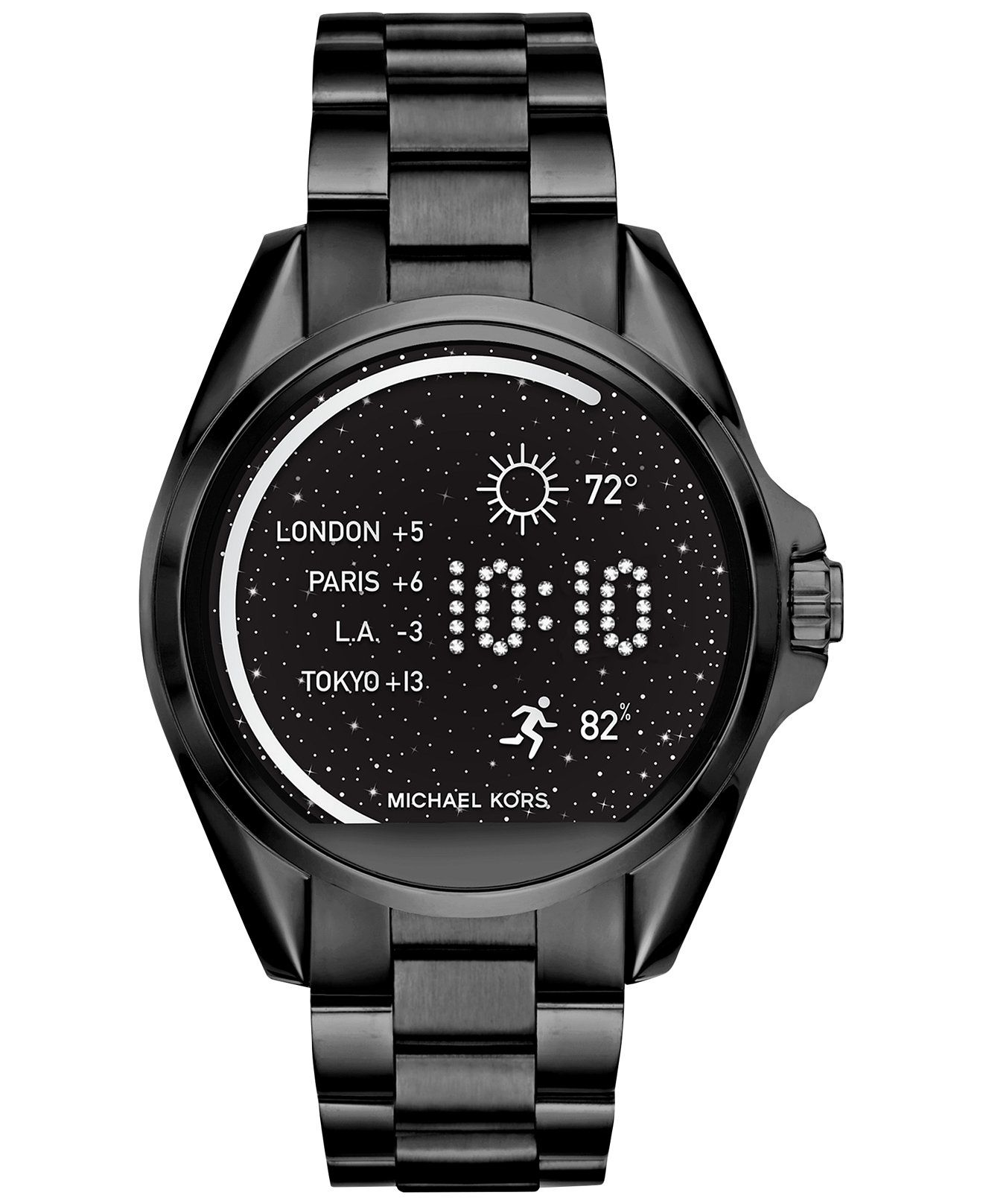c37cb3805717 You ll love the dark dramatic look of this feature-filled smartwatch from Michael  Kors  spectacular Bradshaw collection.