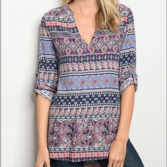 nwt boho festival patterned peasant tunic boutique  boho