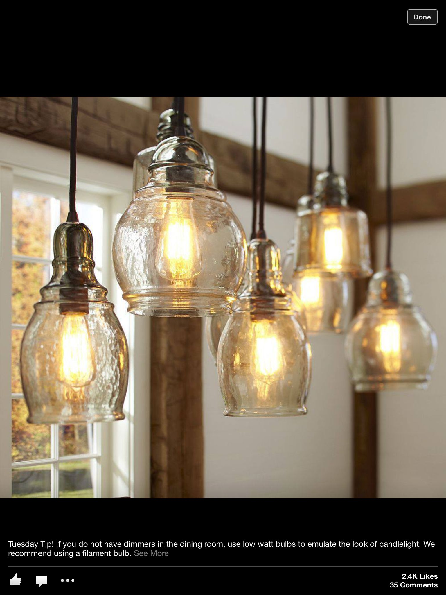 Paxton Glass 8 Light Pendant Pottery Barn Lighting Rustic