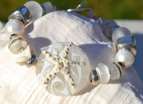 WALK on the BEACH-Handmade Lampwork and Sterling Silver Bracelet