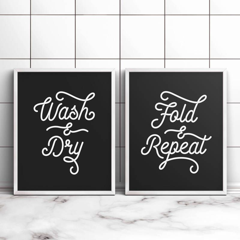 Laundry Room Signs Decor Wash And Dry Fold And Repeat Printable Art Laundry Wall Decor