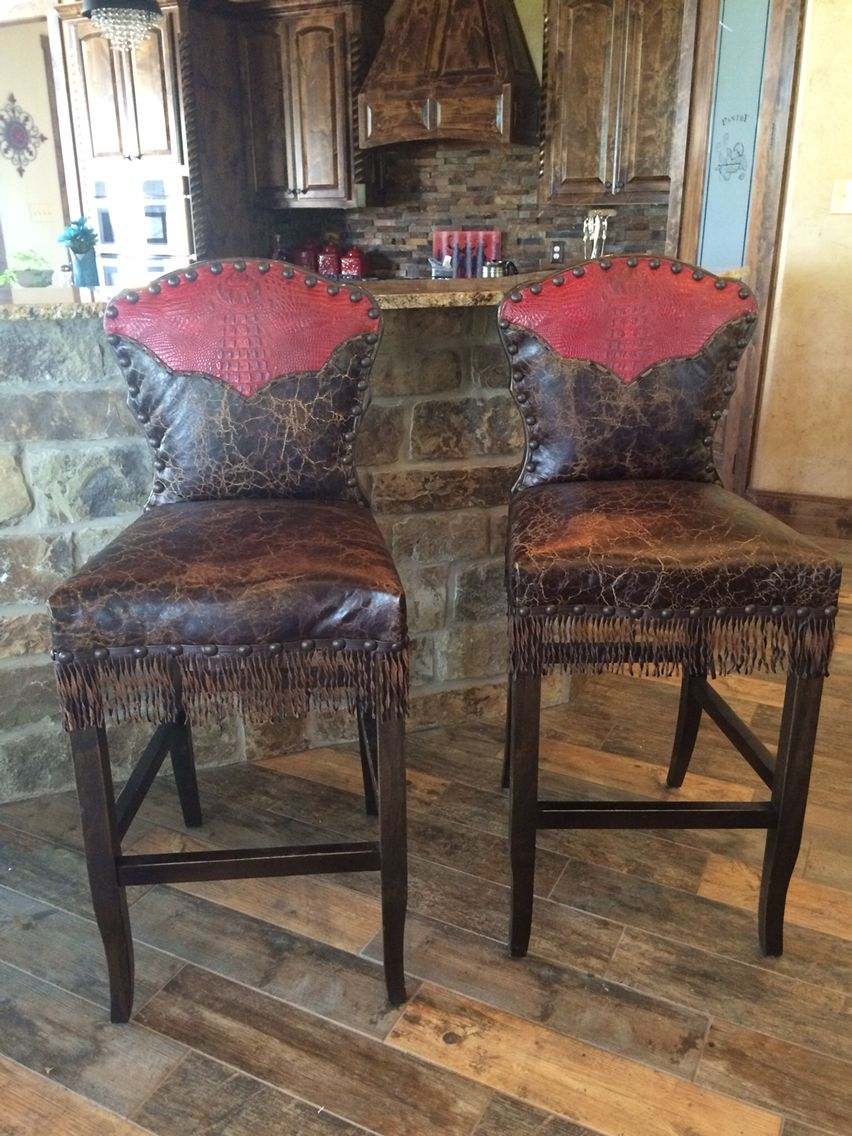 Santa Fe Barstools With Fringe And Western Yoke Love Your Home Man Cave Breakfast