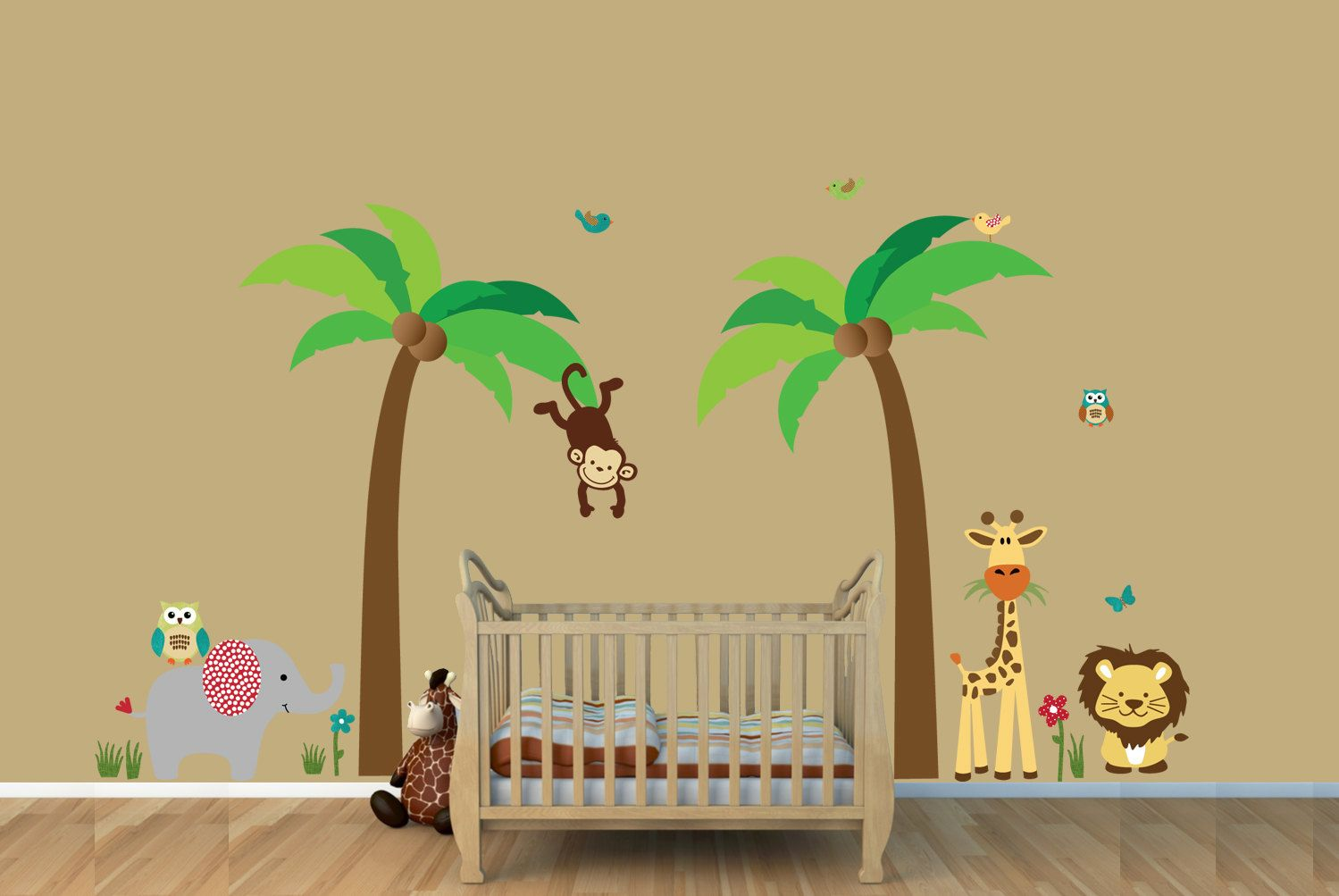 Palm Tree, Jungle Decals, Jungle Wall Decals, Giraffe, Elephant ...