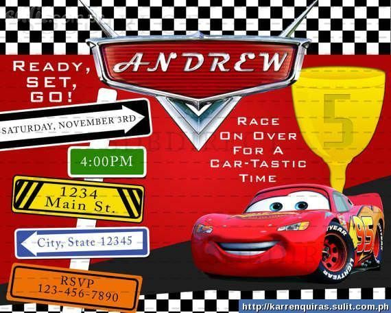 Cars Invitation Card Template Free: Disney Car B'd Imvitation Card