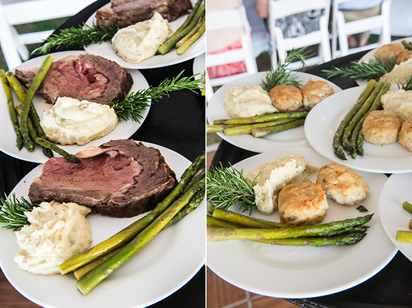 Surf and turf sit down dinner wedding catering by Basnight