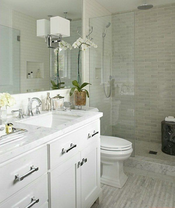 small bathroom design ideas white vanity walk in shower glass partition - Walk In Shower Tile Design Ideas