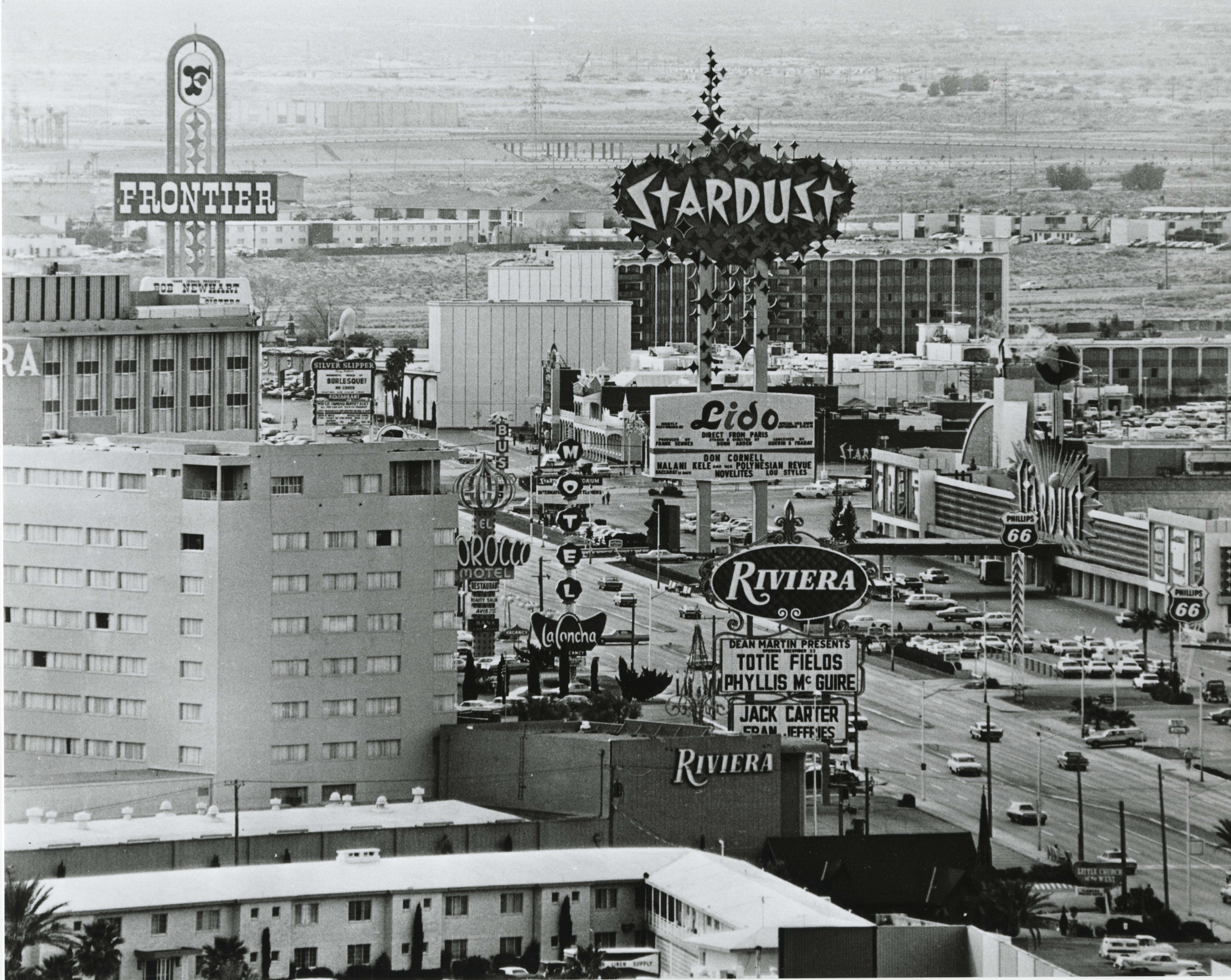 "The Las Vegas Strip looking south showing the Riveria, the Stardust, and the Frontier Hotel, circa late 1970s. Image is part of the UNLV Libraries ""Dreaming the Skyline"" digital collection. #WhatAView"